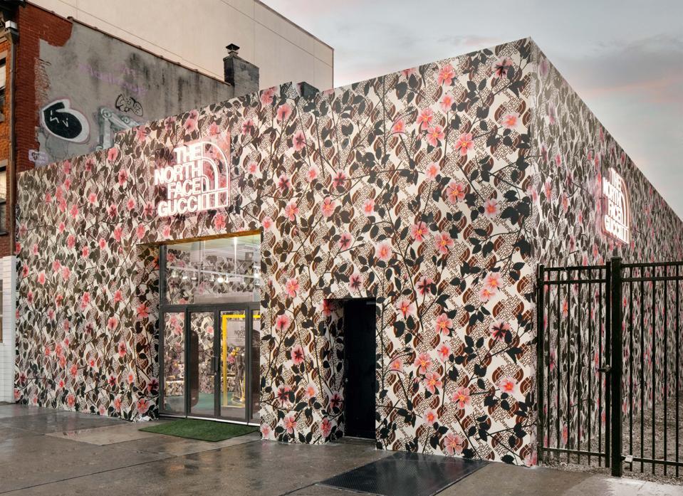 Gucci Pins: The North Face x Gucci Brooklyn location. The original The North Face Brooklyn store is covered by Gucci's familiar design.