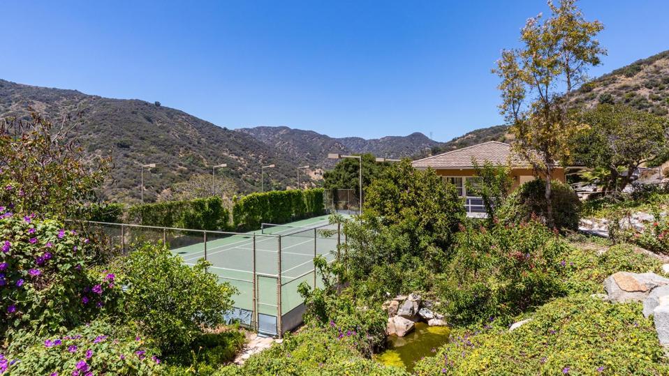 A tennis court.