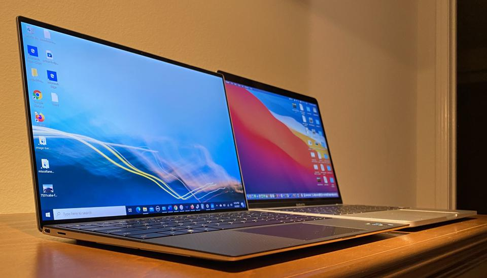 Dell XPS 13 9310 (left) and M1 13-inch MacBook Pro.