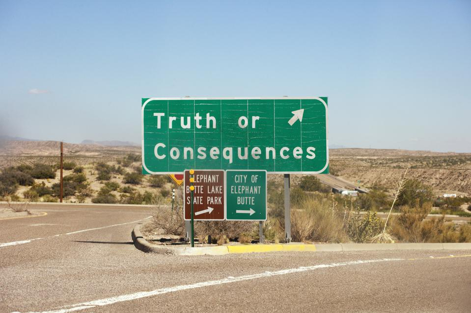 Highway exit sign for Truth or Consequences NM