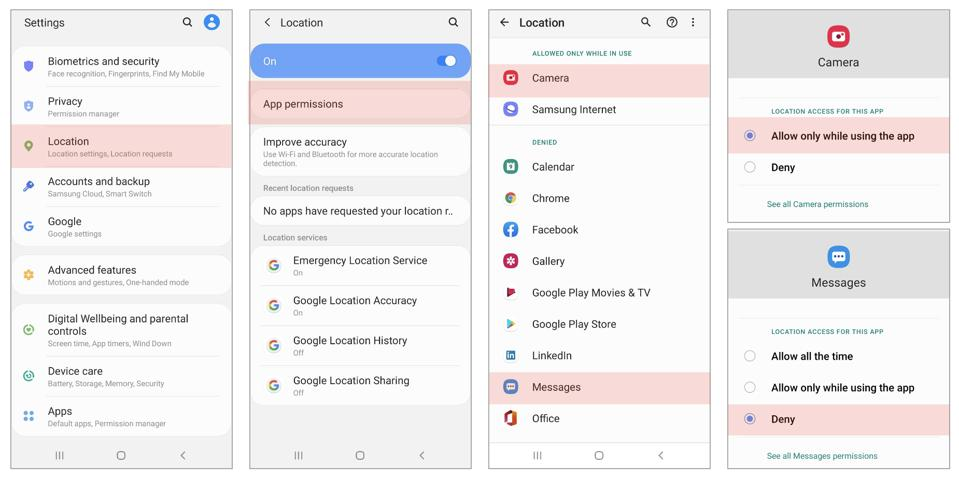Location settings for Messages and Camera