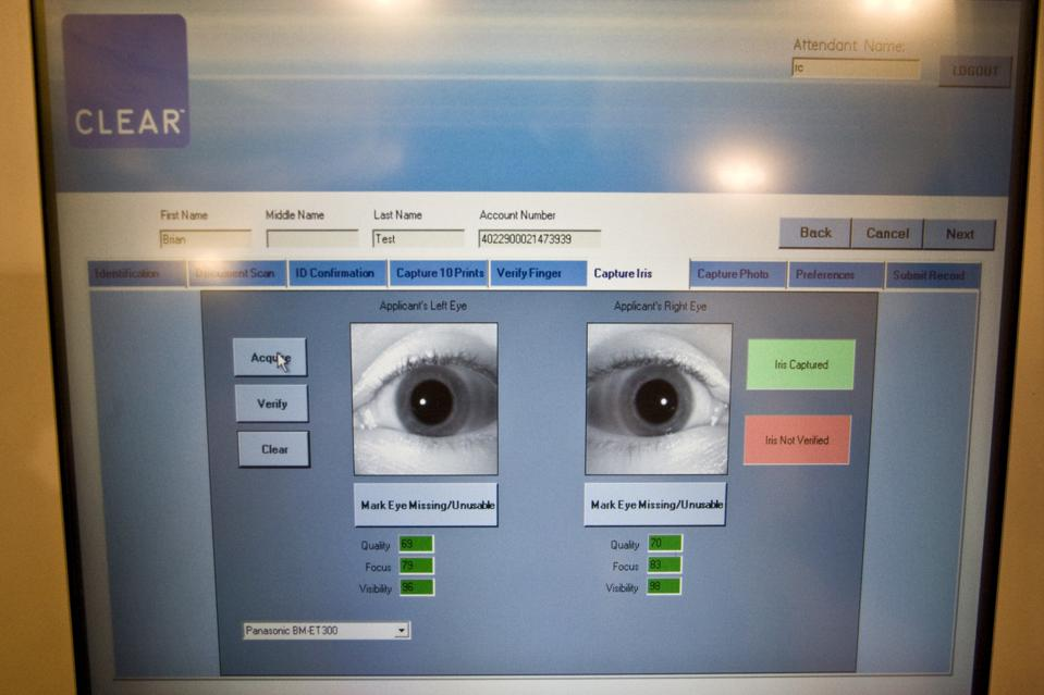 An iris scan which allows passengers to speed through U.S. airport security checks.