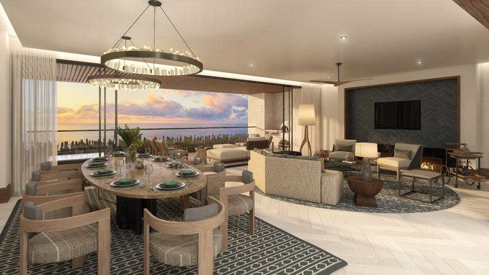 Living room of condo at The Residences at St. Regis Los Cabos