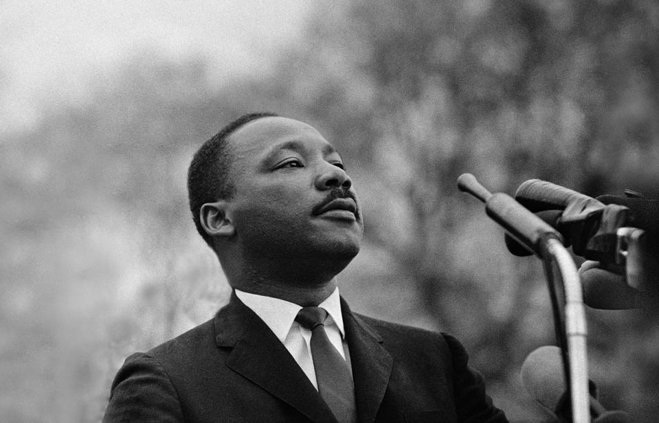 Dr. Martin Luther King speaking before Selma to Montgomery Alabama Marchers, March 25, 1965