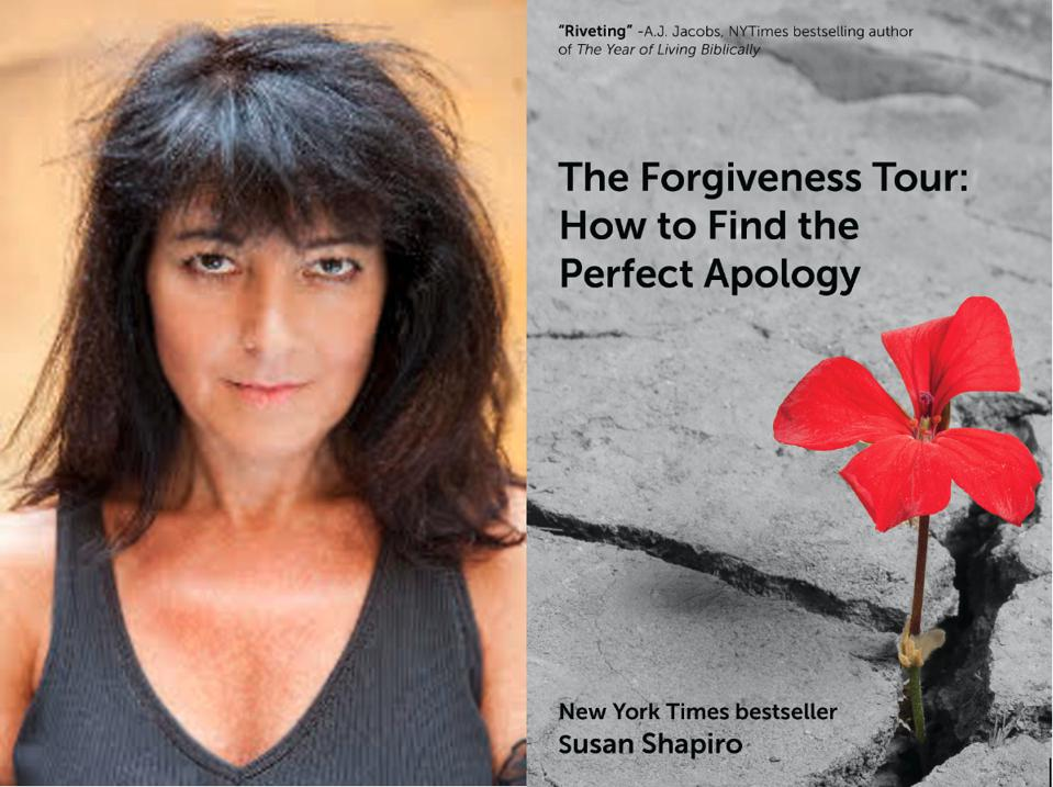 a woman with shoulder-length black hair and a book cover of The Forgiveness Tour.