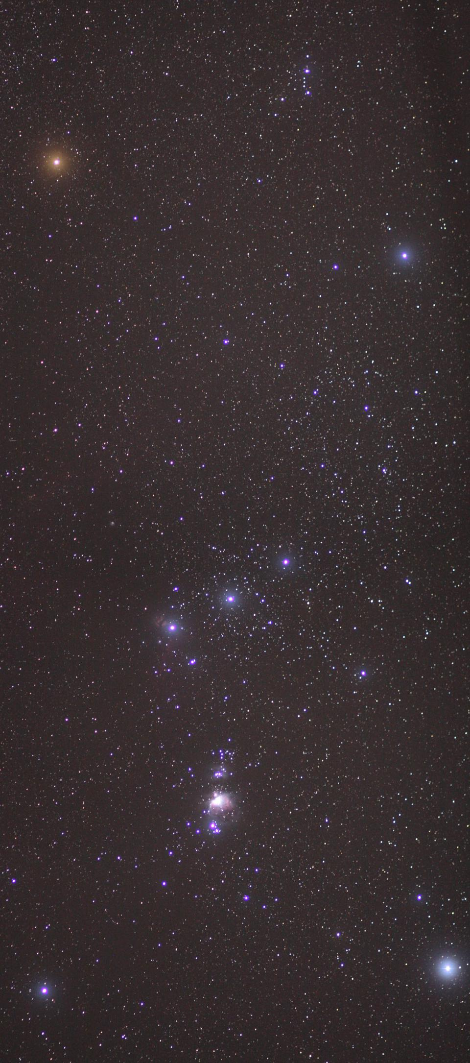 Wide field amateur view of Orion as captured with a digital camera.