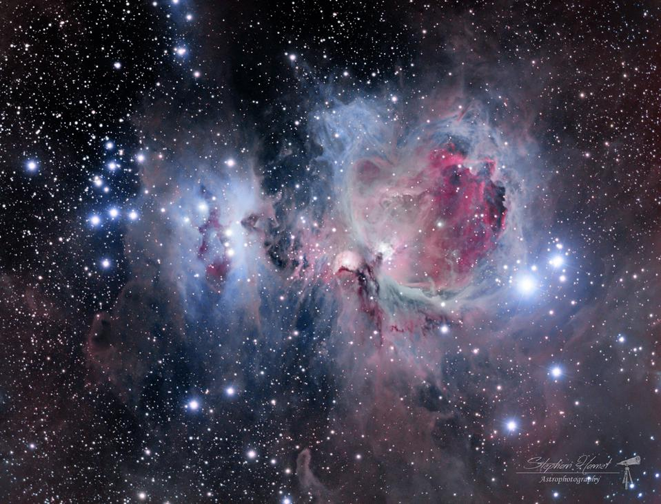 There are many brilliant blue stars present in the Orion Nebula.