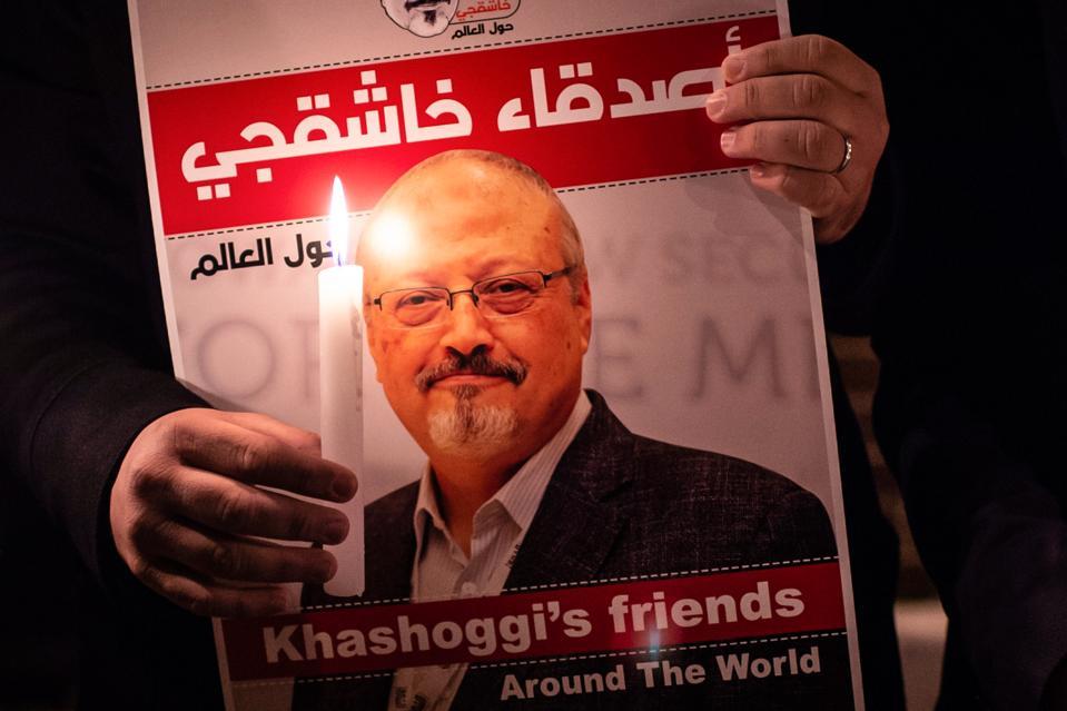 Washington Post journalist Jamal Khashoggi vigil outside Saudi Arabia consulate