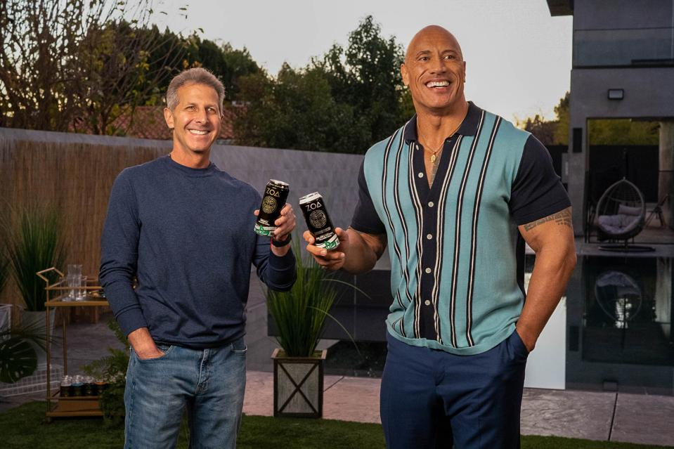 Dwayne Johnson (right) and John Shulman (left) are the co-owners of ZOA Energy.