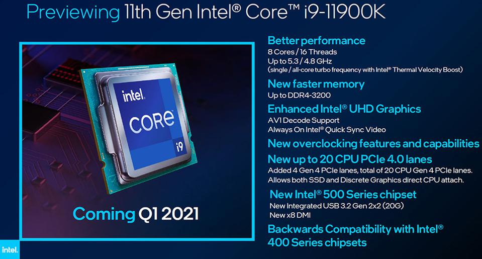 Intel Rocket Lake-S 11th Gen Core i9-11900K 8-Core Desktop Processor
