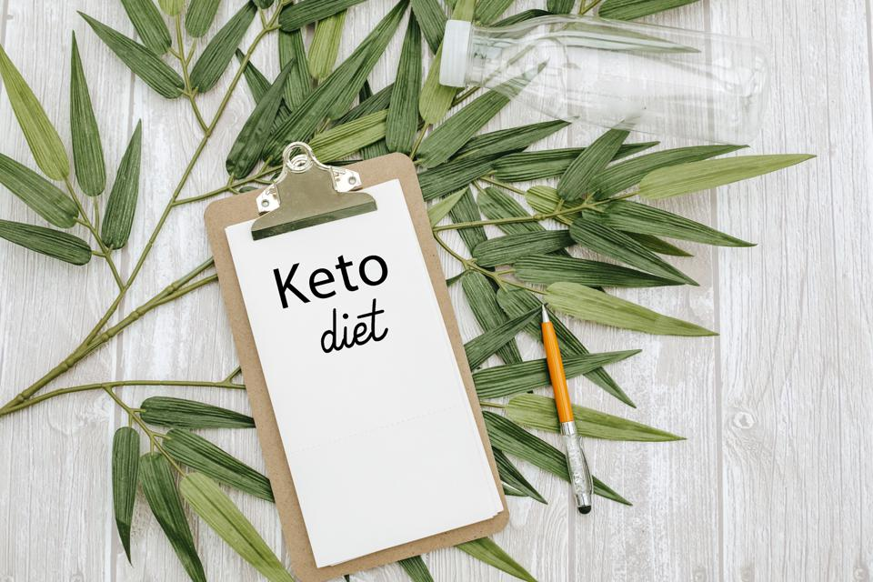 clipboard with keto diet text.Top view