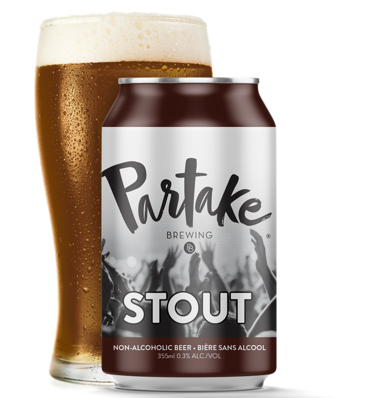 Can of Partake stout with pint glass