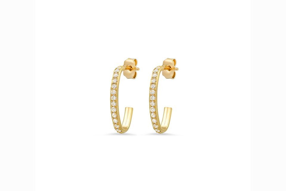 The petite diamond-set Edith earrings go with anything, even sweats!