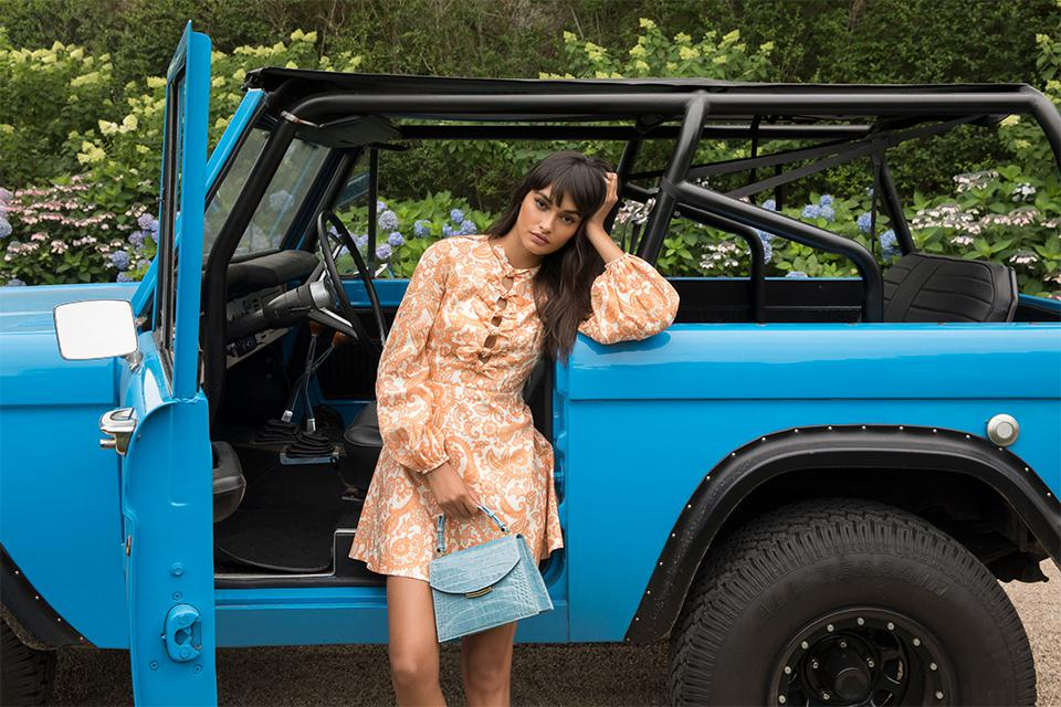 Gizele Oliveira wears The James in a beautiful blue color