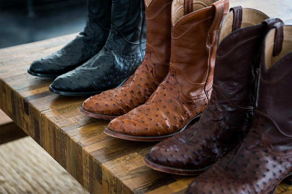 A selection of ostrich cowboy boots