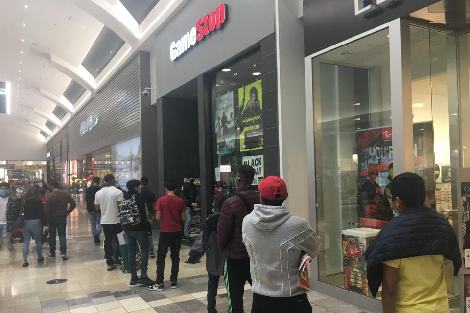 A line of shoppers outside the GameStop store on Black Friday 2020 at the Westfield Garden State shopping center in Paramus.
