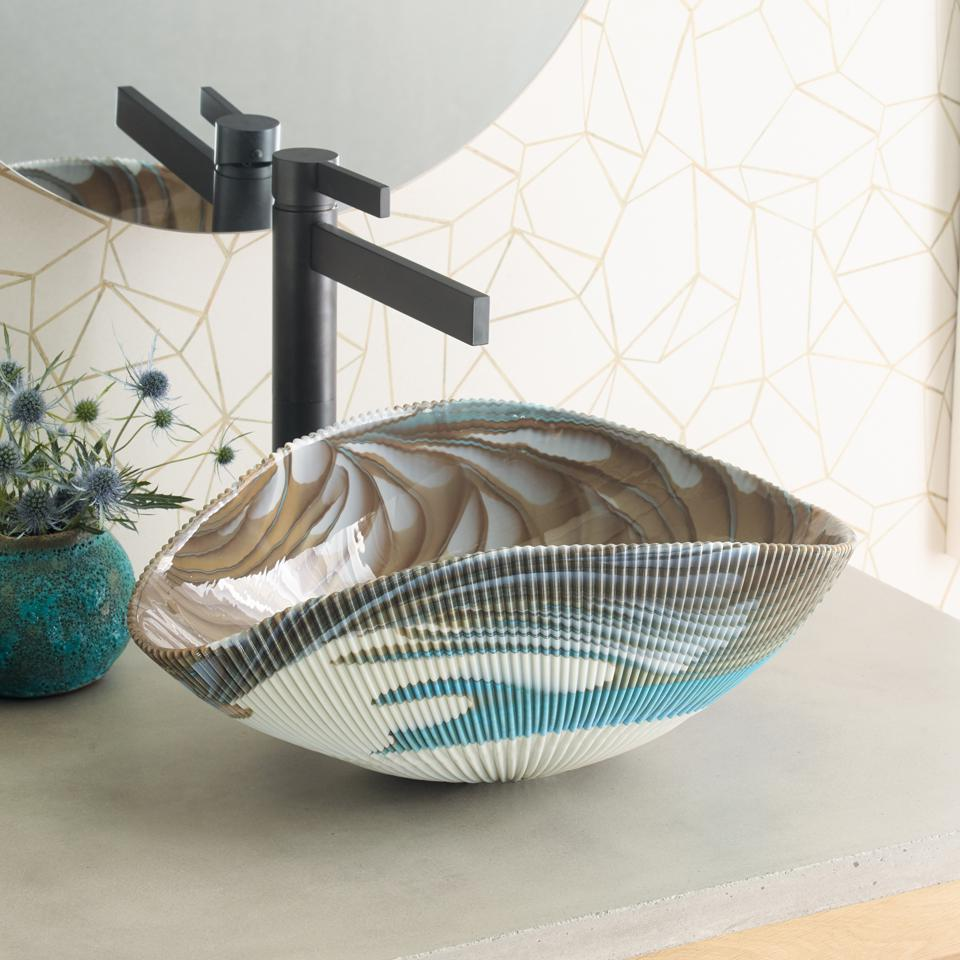 Tropical-inspired vessel sink.