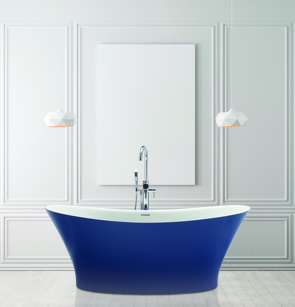 Deep blue soaking tub