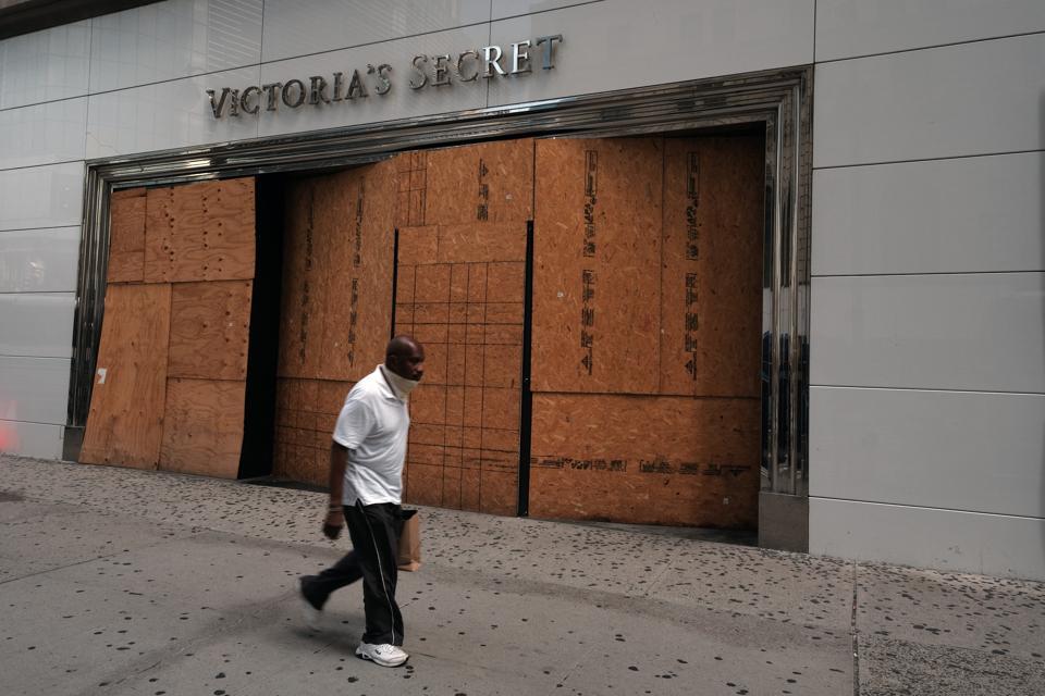 A shuttered Victoria's Secret store in Manhattan.