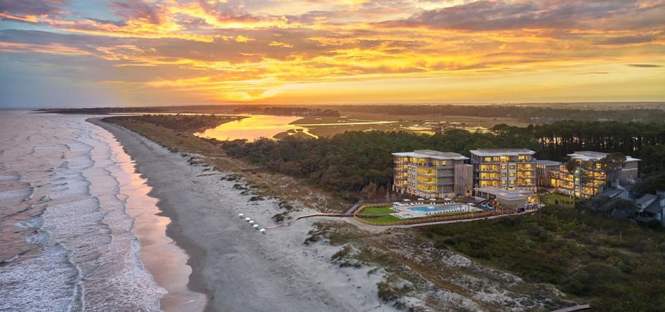Aerial shot of Timbers Kiawah Ocean Club & Residence