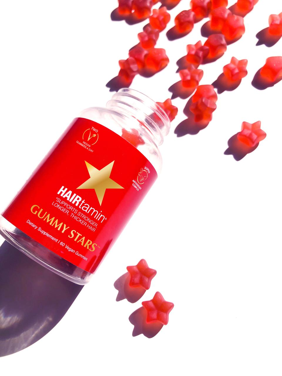 Hairtamin Gummy Stars helps to boost hair growth and strength