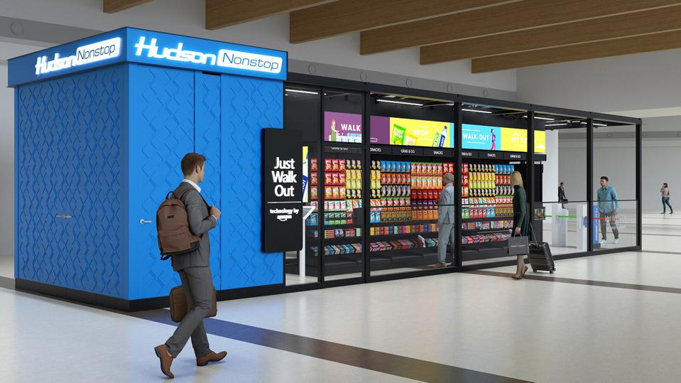 Mock up of Hudson Nonstop store using Amazon Just Walk Out technology.