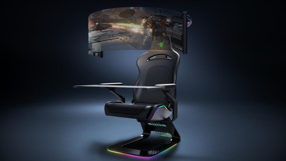 gaming chair with integrated curved screen and table