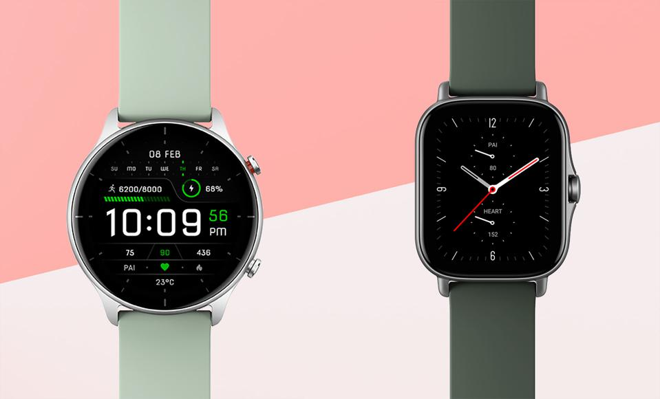 Promo images of the Amazfit GTR 2e and GTS 2e.