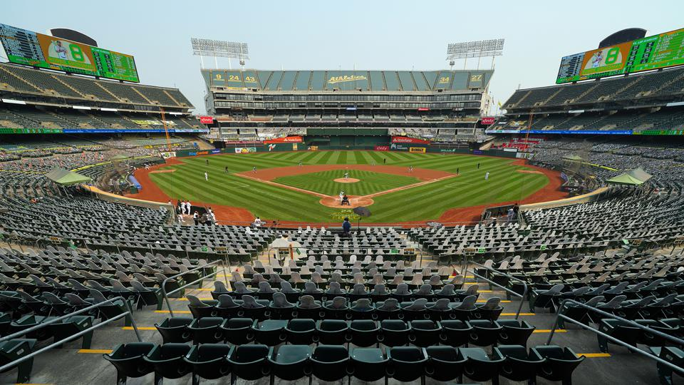 A general view during Game 3 of the Wild Card Series between the Chicago White Sox and the Oakland Athletics at Oakland Coliseum on Thursday, October 1, 2020 in Oakland, California.