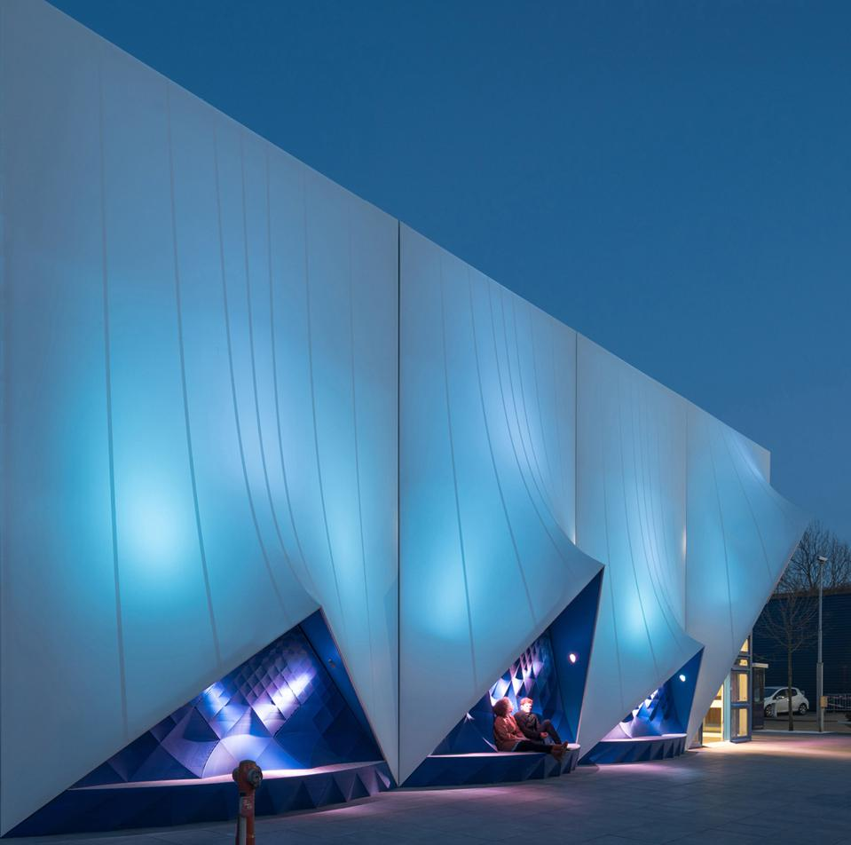 3D-printed exterior facades of the Europe Building in Amsterdam.