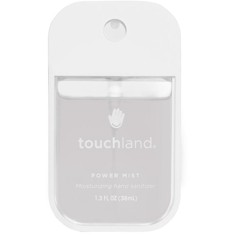 White and clear spray bottled hand sanitizer from Touchland with clear fluid.