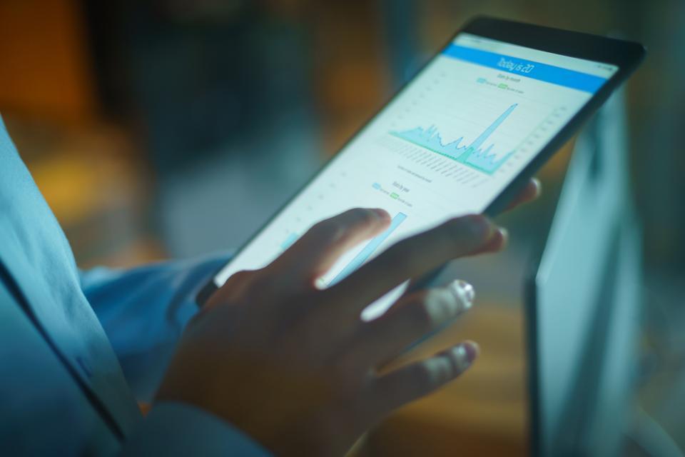 business report on  digital tablet