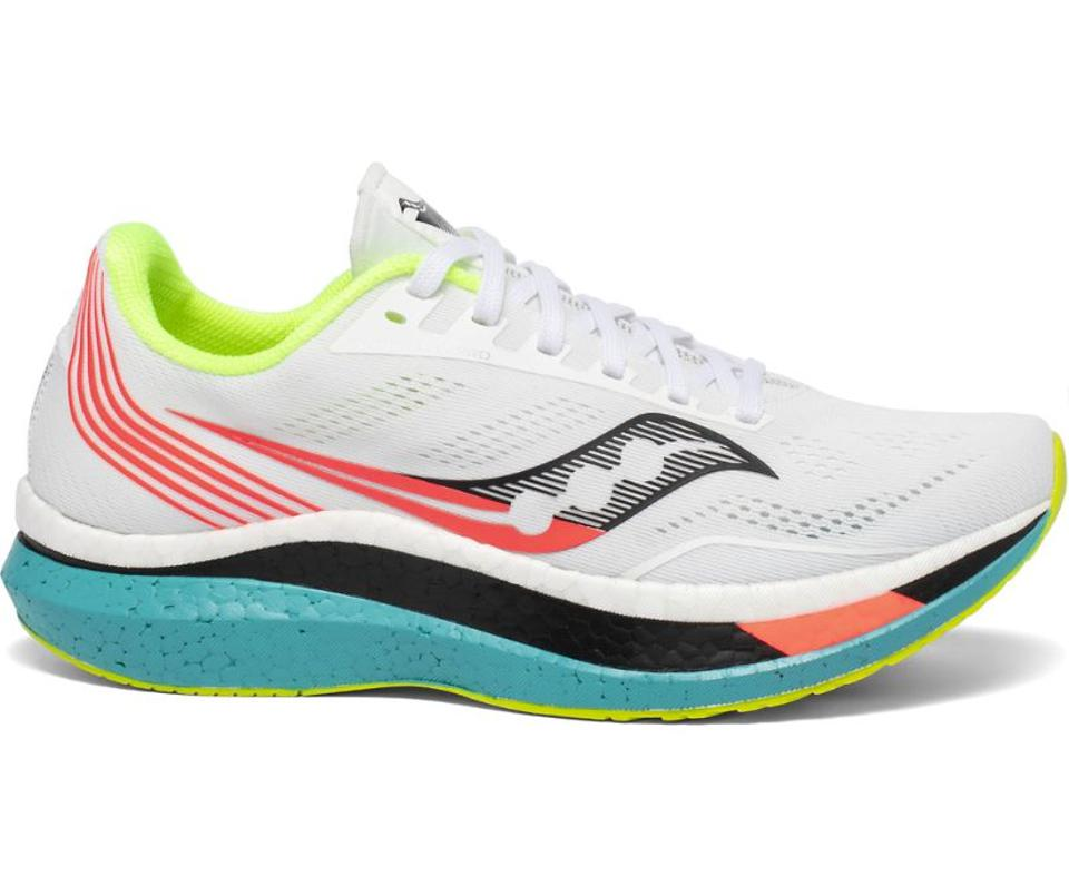 Saucony's white, green, and red Endorphin Pro sneakers.
