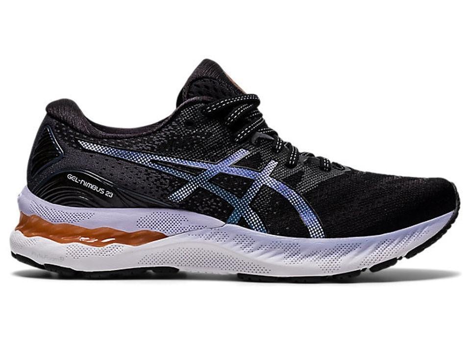 Black, purple, and gray Asics Gel Nimbus 23 sneakers.