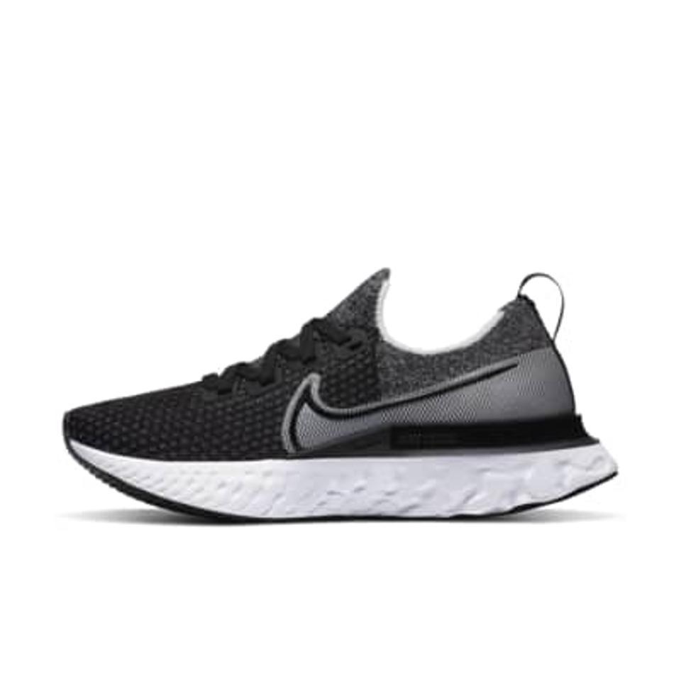 Black and white Nike Nike React Infinity Run Flyknit shoe.