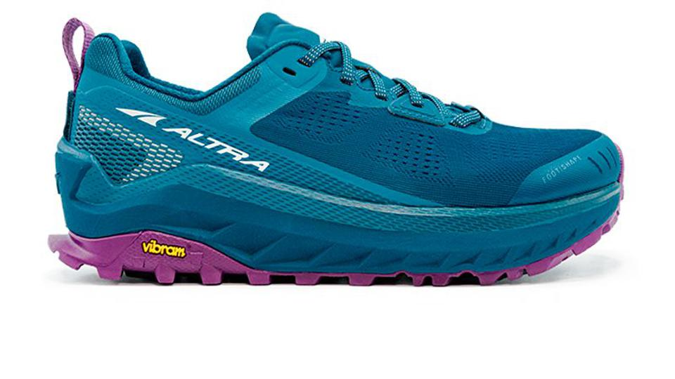 Altra blue Olympus sneakers with purple soles.