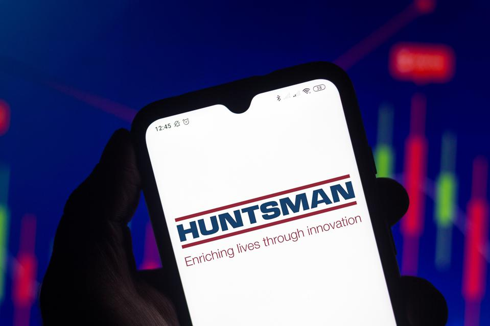 In this photo illustration the Huntsman Corporation logo...