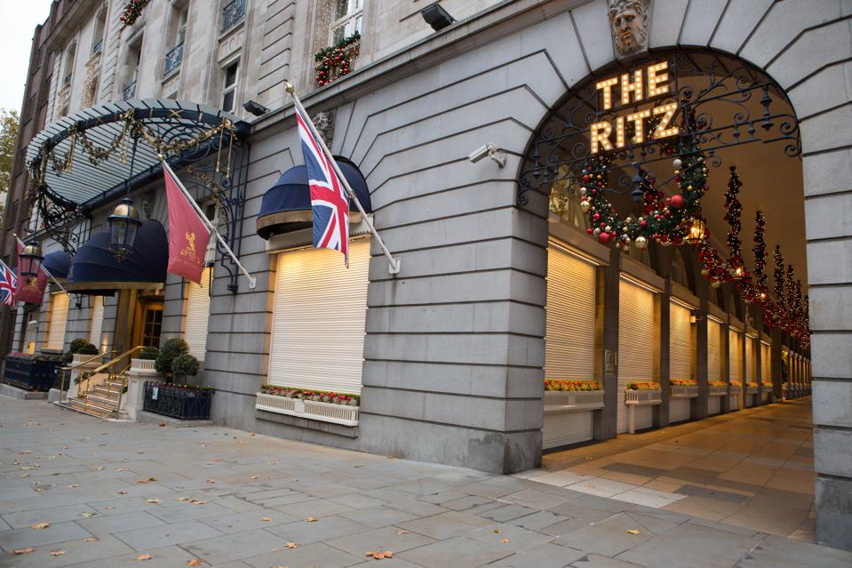 The Ritz Hotel is pictured with Christmas lights and...
