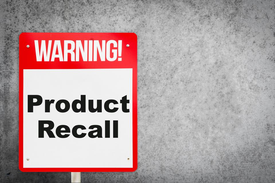 Product Recall problem warning signage for production industry.