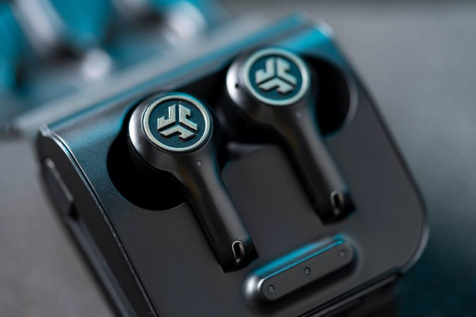 Close up of JLab Epic Air ANC earbuds in their charging case