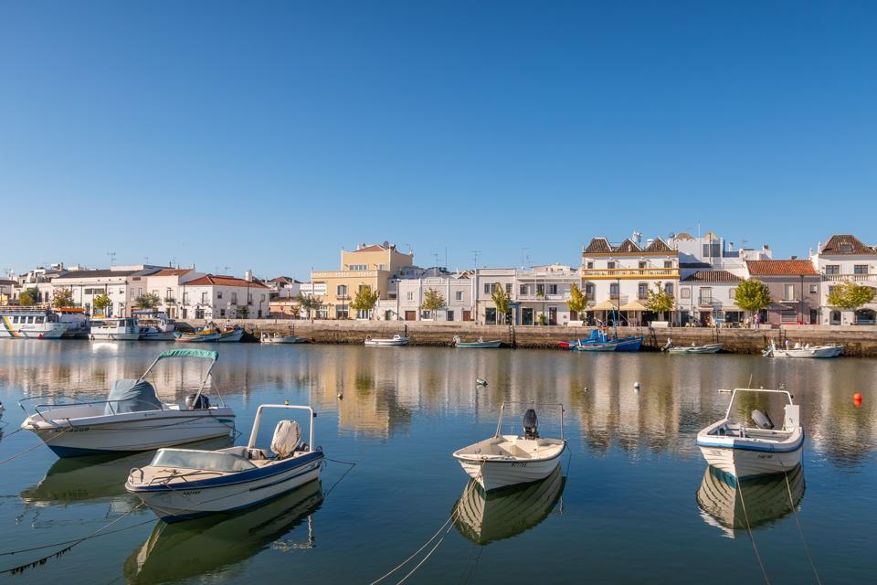 Tavira, Portugal - April 2019: Fishing boats at Tavira; Eastern Algave; Portugal