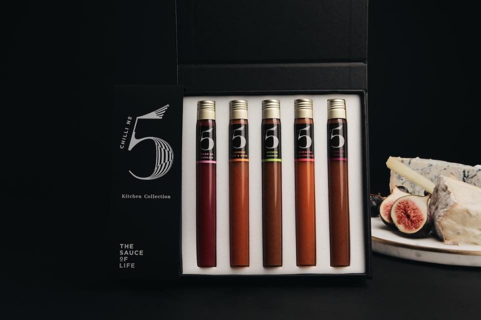 sauces in test tube size bottles