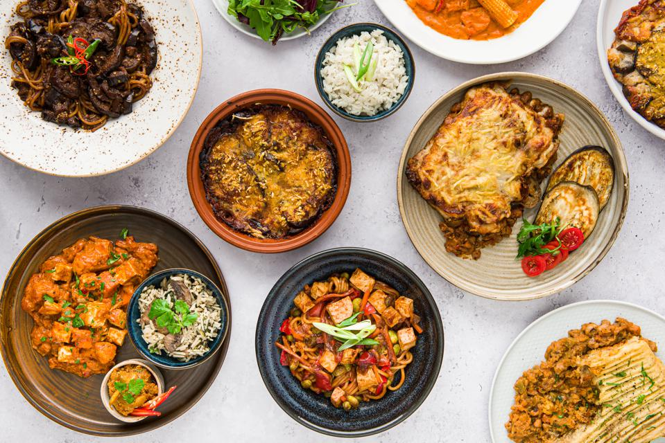 vegan meals on a table