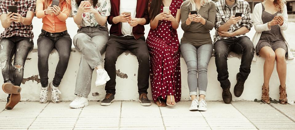 People using smart mobile phones app.