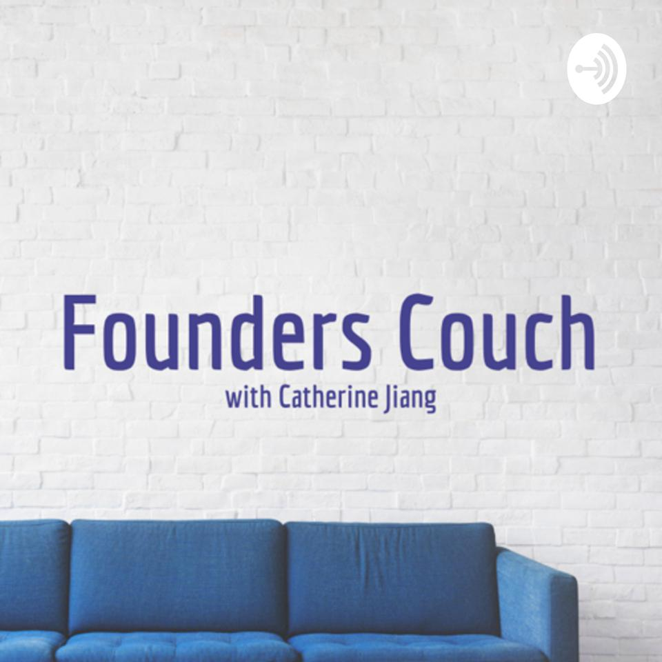 Founders Couch with Catherine Jiang logo above blue couch