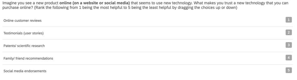 Survey screenshot of survey question.