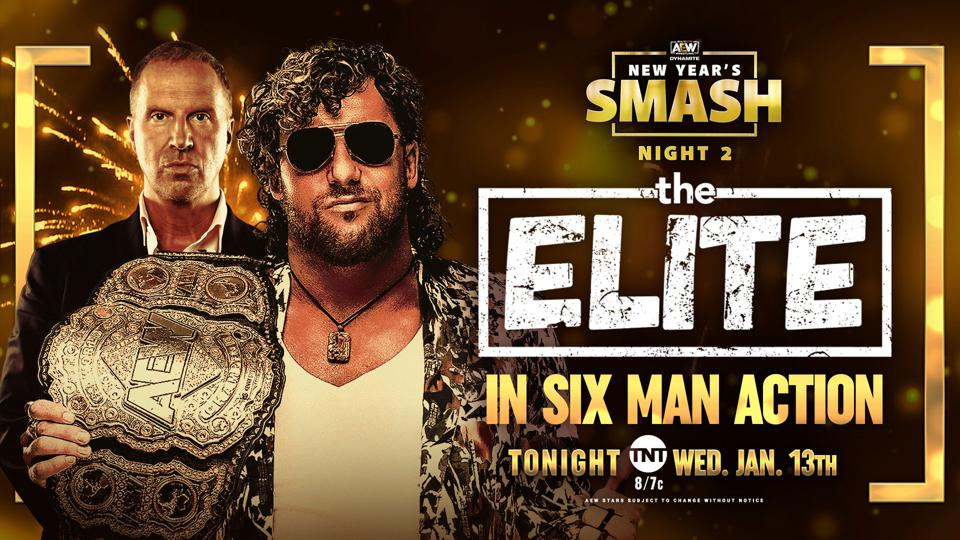 Kenny Omega and The Elite appear live.