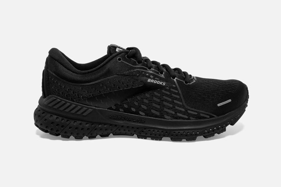 All black Brooks Adrenaline GTS 21 running sneakers.