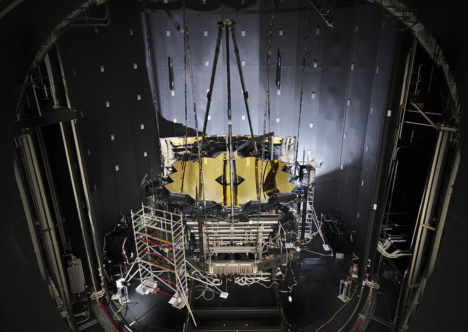 NASA's James Webb Space Telescope sits inside Chamber A at NASA's Johnson Space Center.