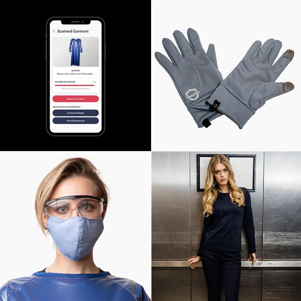 AmorSui app, gloves, masks and apparel.
